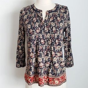 Lucky Brand Blue Floral & Leaf w/ Red Border Top